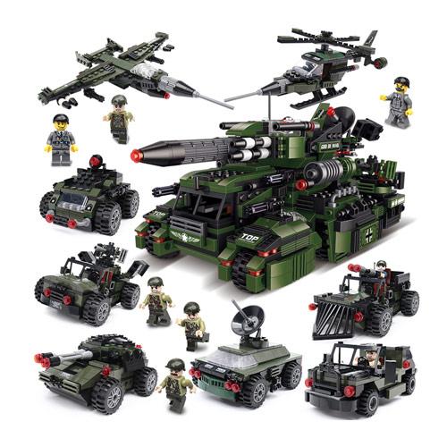 军事系列坦克飞机战车玩具益智积木拼装男孩