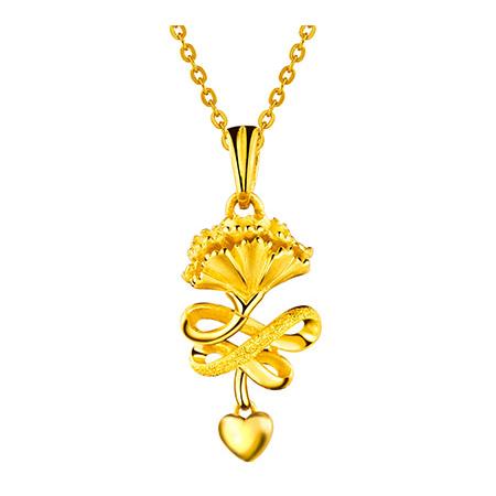 六福康乃馨黄金项链