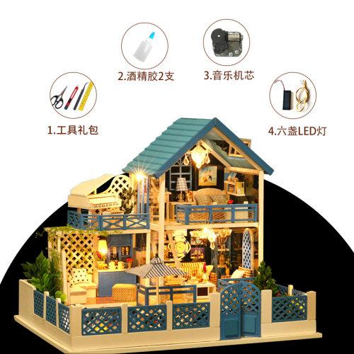 手工DIY制作小木屋音乐盒八音盒天空之城房子情