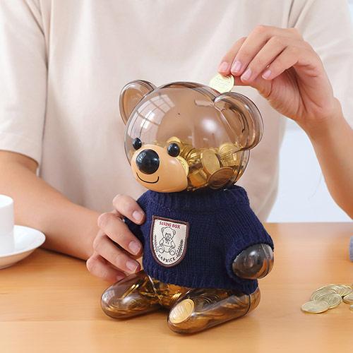 卡通小熊存钱罐儿童存钱箱可存可