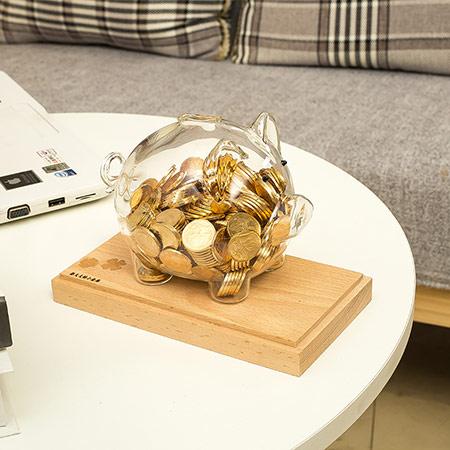 小猪透明玻璃储蓄罐家居存钱罐摆