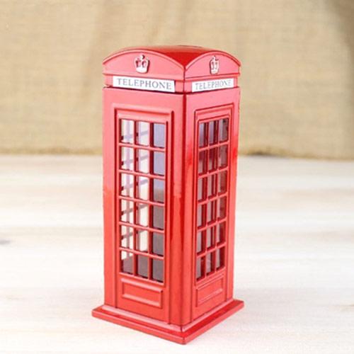 英伦风红色电话亭存钱罐家居装饰