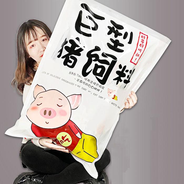 送给女生吃货的生日礼物巨型猪饲料零食大礼包
