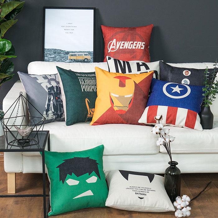 漫威英雄沙发抱枕靠垫复联周边卡通办公室靠