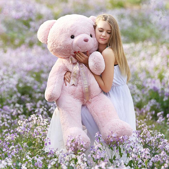 樱花粉泰迪熊毛绒玩具大号泰迪熊公仔娃娃女