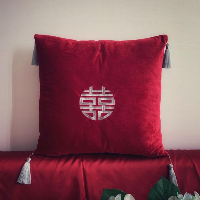 中式结婚用品喜字刺绣流苏抱枕一对新婚礼物