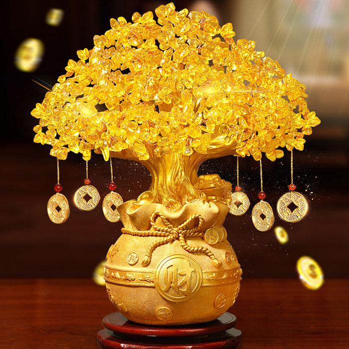黄水晶聚财发财树