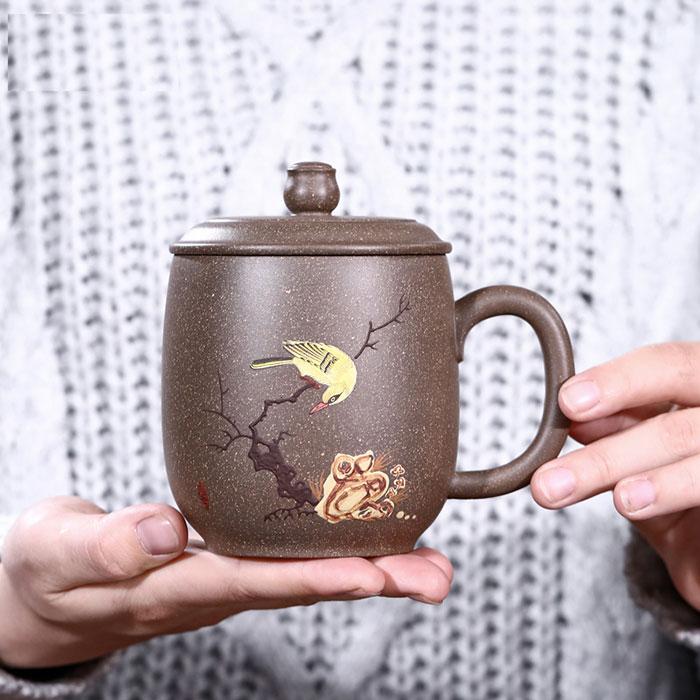 喜上眉梢紫砂茶杯