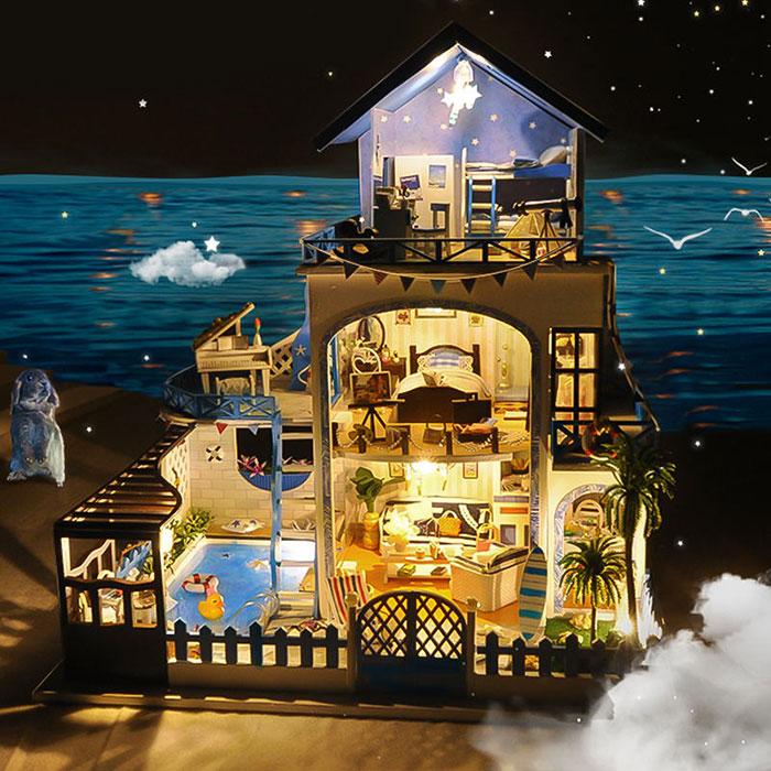 手工制作别墅小屋爱琴海diy小房子模型拼装建
