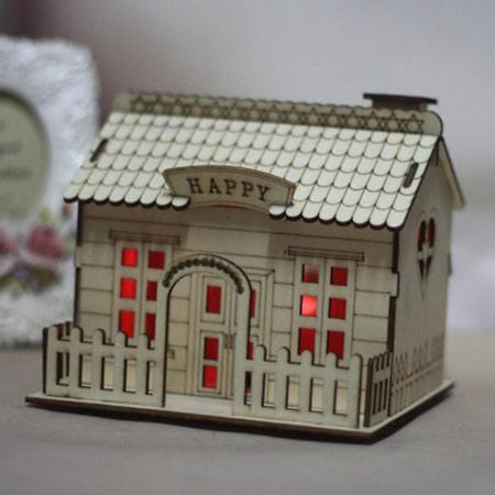 木质别墅存钱罐小木屋带灯储蓄罐