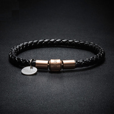 男性转运珠编织皮绳手链