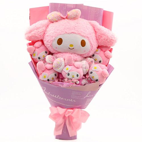 粉色卡通兔子花束娃娃公仔女生闺蜜女友创意生日礼物
