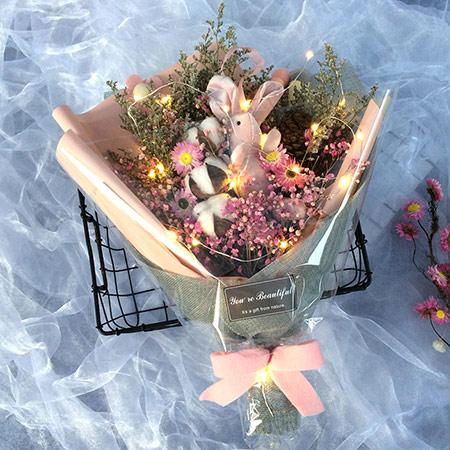 许愿兔满天星花束七夕情人节礼品干花礼盒毕业礼物女生生日礼物
