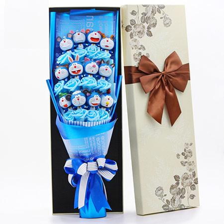 蓝胖子卡通花束礼盒哆啦a梦公仔花束女朋友同学闺蜜创意礼物