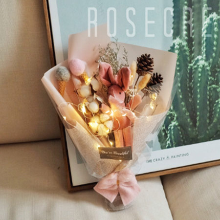 ins许愿兔干花花束棉花花束生日礼物送女友闺蜜朋友礼物