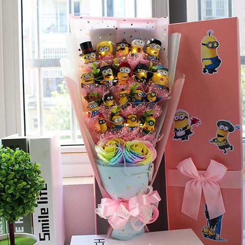小黄人公仔卡通花束礼盒送女友妻子闺蜜同学女生超萌创意礼物