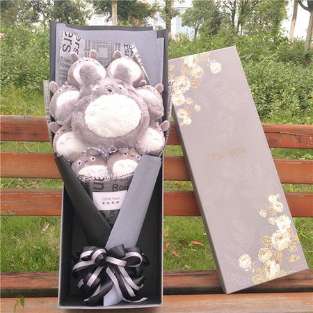 宫崎骏龙猫花束礼盒个性创意卡通公仔花束女朋友情人节生日礼物